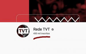 TVT comemora 450 mil inscritos no YouTube